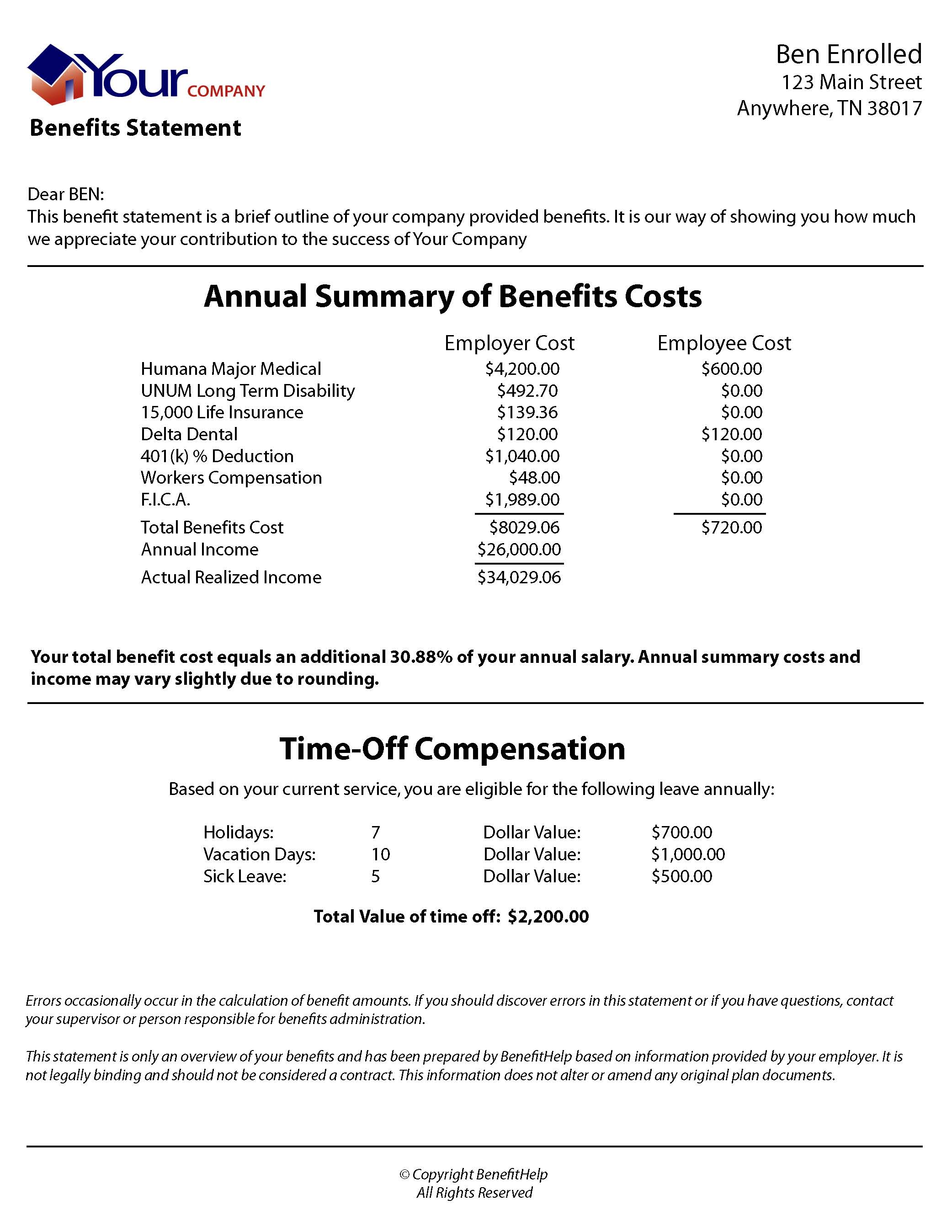 benefithelp presentation these statements are extremely valuable communication tools because they illustrate the value of an employees total compensation package